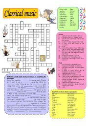 English Worksheet: Classical music crossword
