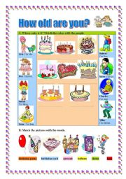 English Worksheet: How old are you? -birthday