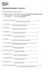 English Worksheets: Embedded Questions - Exercise