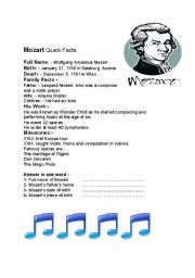 English Worksheets: Mozart , the great composer