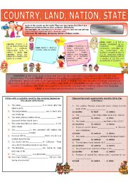 English Worksheet: COLLOCATION 25 - COUNTRY, LAND, NATION, STATE
