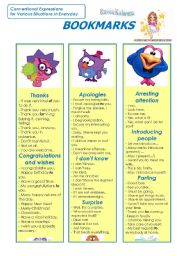 English Worksheets: Bookmarks (Part 1)