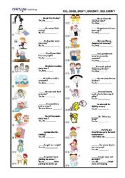 English Worksheet: Do, does, don�t, doesn�t, did, didn�t