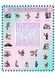 English Worksheets: OCCUPATIONS  (3/3)  wordsearch