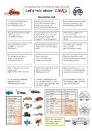 English Worksheet: Let�s talk about CARS