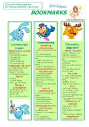 English Worksheet: Bookmarks (Part 2)