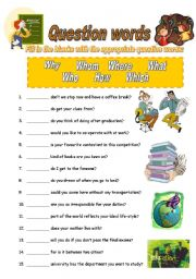 English Worksheets: Question Words for elementary
