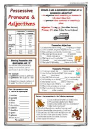English worksheet: Possessives (Pronouns, Adjectives, apostrophe s)