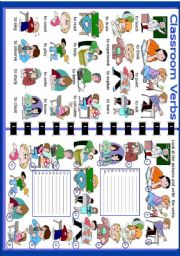 English Worksheets: Classroom Verbs