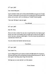 Thank You Letter Esl Worksheet Examples Of Writing A