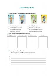 English Worksheets: Shake your body