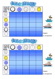 English Worksheets: TIME BATTLESHIP GAME  ( cards and game procedure)