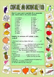 English Worksheets: Food - countable and uncountable nouns