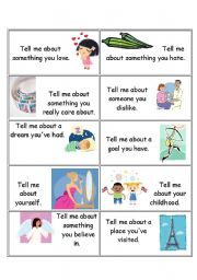 English Worksheets: Tell me about... Flashcards n. 1