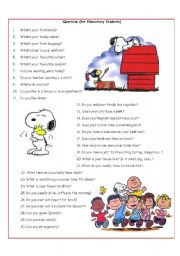 English Worksheets: Questions (for Elementary Students)