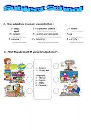 English worksheet: subject school