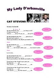 English Worksheets: My Lady D�arbanville by CAT STEVENS