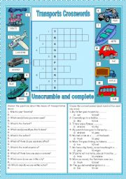 Transports - crosswords & exercises