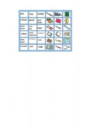 English Worksheets: school materials memory game