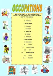 English Worksheets: OCCUPATIONS - matching