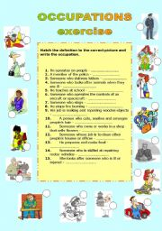 English Worksheets: OCCUPATIONS - EXERCISE