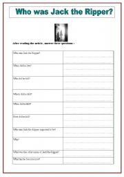 English Worksheets: Jack the Ripper  activity 1