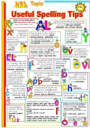 English Worksheet: USEFUL SPELLING TIPS FOR YOUR STUDENTS