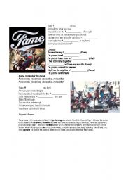 English Worksheet: Fame - From the 80´s to a real school