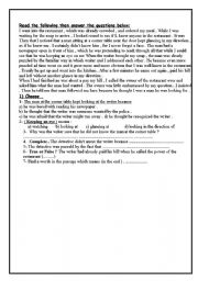 English Worksheets: the man and the resturant