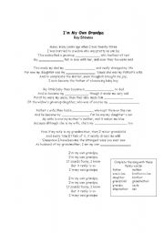 English worksheet: I´m my own grandpa - Song family members