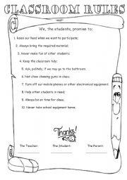 English Worksheet: Classroom Rules (Editable)
