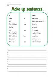 English Worksheets: make up sentences