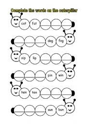 English Worksheet: phonics caterpillar