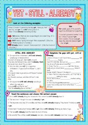 English Worksheets: YET - STILL - ALREADY
