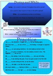 English Worksheets: During and While