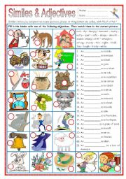 English Worksheets: Similes & Adjectives (part 3)