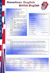 English Worksheet: American English British English (2 pages)