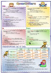 English Worksheet: Quantifiers (1): some, any, no, every and compounds