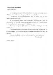 English Worksheets: letter giving information
