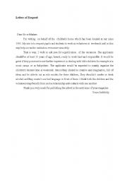 English Worksheets: letter of request