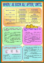 English Worksheets: Time Clauses - When/ As soon as/ After/ Until