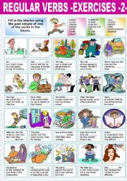 English Worksheet: REGULAR VERBS �EXERCISES (2)