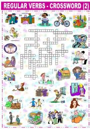 English Worksheet: REGULAR VERBS - CROSSWORD -2-