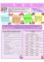 English Worksheet: COLLOCATION 6 - BOUNCE, JUMP, LEAP, SPRING