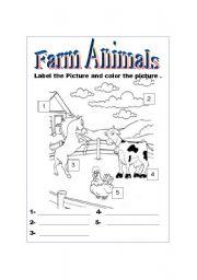 English Worksheets: Farm Animals-B&W