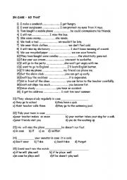 English Worksheets: in case- so that