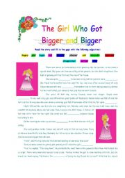 English Worksheets: The Girl Who Got Bigger and Bigger