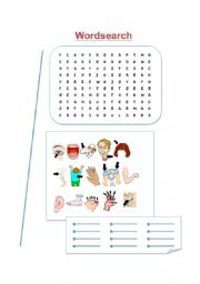 English Worksheets: Human Body Wordsearch