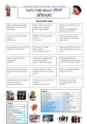 English Worksheets: Let�s talk about POP MUSIC