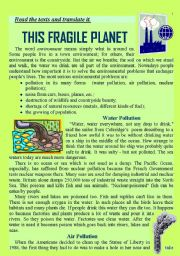 English Worksheets: Ecological Problems